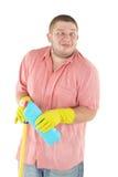 Cleanner drôle avec l'équipement Images stock