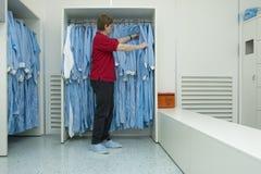 Cleanroom die III kleedt Stock Foto's