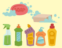 Cleanser bottle chemical housework product care wash equipment cleaning liquid flat vector illustration. Cleanser bottle chemical housework product and care Royalty Free Stock Photos