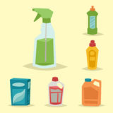 Cleanser bottle chemical housework product care wash equipment cleaning liquid flat vector illustration. Stock Images