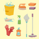 Cleanser bottle chemical housework product care wash equipment cleaning liquid flat vector illustration. Royalty Free Stock Images