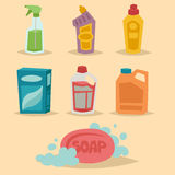 Cleanser bottle chemical housework product care wash equipment cleaning liquid flat vector illustration. Royalty Free Stock Photos