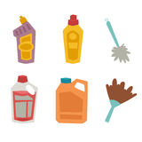 Cleanser bottle chemical housework product care wash equipment cleaning liquid flat vector illustration. Stock Image