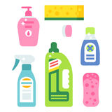 Cleanser bottle chemical housework product care wash equipment cleaning liquid flat vector illustration. Stock Photo