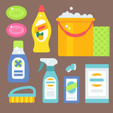 Cleanser bottle chemical housework product care wash equipment cleaning liquid flat vector illustration. Stock Photography