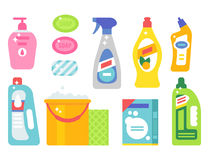 Cleanser bottle chemical housework product care wash equipment cleaning liquid flat vector illustration. Royalty Free Stock Image