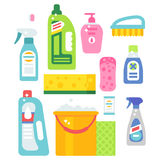 Cleanser bottle chemical housework product care wash equipment cleaning liquid flat vector illustration. Royalty Free Stock Photo
