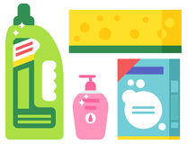 Cleanser bottle chemical housework product care wash equipment cleaning liquid flat vector illustration. Royalty Free Stock Photography