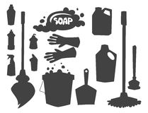 Cleanser bottle chemical housework product care wash equipment cleaning silhouette vector illustration. Stock Images