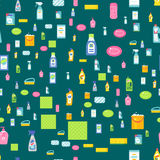 Cleanser bottle chemical housework product seamless pattern wash equipment cleaning flat vector illustration. Stock Photos