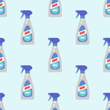 Cleanser bottle chemical housework product seamless pattern wash equipment cleaning flat vector illustration. Royalty Free Stock Photo