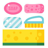 Cleanser chemical housework product care wash equipment cleaning brush flat vector illustration. Royalty Free Stock Images