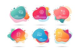 Cleanser spray, Sponge and Clean dishes icons. Shampoo and spray sign. Vector. Dynamic liquid shapes. Set of Cleanser spray, Sponge and Clean dishes icons stock illustration