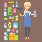 Cleanser woman chemical housework product care wash equipment cleaning liquid flat vector illustration. Stock Image