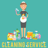 Cleanser woman chemical housework product care wash equipment cleaning liquid flat vector illustration. Stock Images
