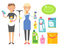 Cleanser woman chemical housework product care wash equipment cleaning liquid flat vector illustration. Royalty Free Stock Photo