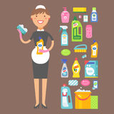 Cleanser woman chemical housework product care wash equipment cleaning liquid flat vector illustration. Royalty Free Stock Photography