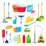 Cleansers and detergent in bottles, house cleaning tools and supplies for housework. Vector isolated design elements stock illustration