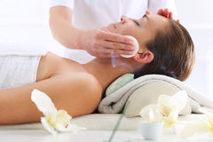 Cleansing Facial Skin, A Woman In Beauty Salon Royalty Free Stock Photo
