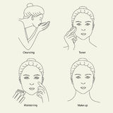 Cleansing skin care face make up Royalty Free Stock Image
