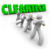 CleanTech Team of People Pull Up Word Renewable Power Energy. CleanTech word pulled up by a team of people working together to find renewable power or energy Royalty Free Stock Photos
