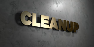Cleanup - Gold sign mounted on glossy marble wall  - 3D rendered royalty free stock illustration Royalty Free Stock Photography