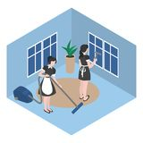 Cleanup in the hotel room. Isometric maid in uniform. Cleaning company staff works in office. Housework and household. Cleanup in the hotel room. Isometric maid royalty free illustration