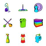 Cleanup icons set, cartoon style Stock Photography