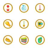 Cleanup icons set, cartoon style Royalty Free Stock Image