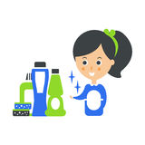 Cleanup Service Maid和Set的Of Household Chemistry Products, Cleaning Company Infographic例证 图库摄影
