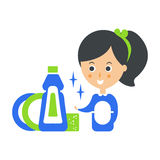 Cleanup Service Maid And Clean Dishes, Cleaning Company Infographic Illustration Stock Photography