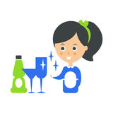 Cleanup Service Maid And Clean Glasses, Cleaning Company Infographic Illustration Stock Photography