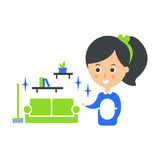 Cleanup Service Maid And Clean Living Room, Cleaning Company Infographic Illustration Royalty Free Stock Photo
