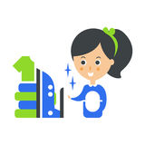 Cleanup Service Maid, Iron And Ironed Laundry, Cleaning Company Infographic Illustration Stock Photo