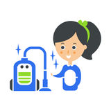 Cleanup Service Maid And Vacuum Cleaned Floor, Cleaning Company Infographic Illustration Stock Images