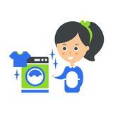 Cleanup Service Maid And Washing Machine Laundry, Cleaning Company Infographic Illustration Stock Image