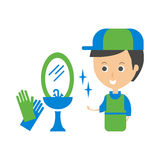 Cleanup Service Worker和Clean Bathroom Tap, Cleaning Company Infographic例证 免版税库存图片