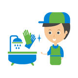 Cleanup Service Worker And Clean Bathroom Tub, Cleaning Company Infographic Illustration. Professional Cleaner And Her Work Flat Icon In Green And Blue Color royalty free illustration