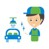 Cleanup Service Worker And Clean Car, Cleaning Company Infographic Illustration Stock Images