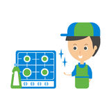 Cleanup Service Worker And Clean Stove, Cleaning Company Infographic Illustration Stock Images