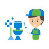 Cleanup Service Worker And Clean Toilet, Cleaning Company Infographic Illustration Royalty Free Stock Photography