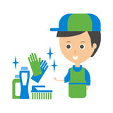 Cleanup Service Worker et illustration de Household Chemistry Products, Cleaning Company Infographic Images libres de droits