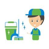 Cleanup Service Worker y ejemplo Clean Floor, Cleaning Company Infographic Fotografía de archivo libre de regalías