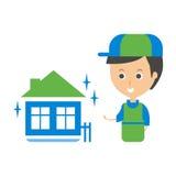 Cleanup Service Worker y ejemplo Clean Home, Cleaning Company Infographic Foto de archivo libre de regalías