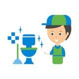 Cleanup Service Worker y ejemplo Clean Toilet, Cleaning Company Infographic Fotografía de archivo libre de regalías