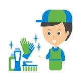 Cleanup Service Worker y ejemplo de Household Chemistry Products, Cleaning Company Infographic Imágenes de archivo libres de regalías
