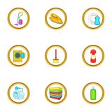 Cleanup things icons set, cartoon style Royalty Free Stock Photography