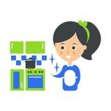 Cleanup Usługujący Gosposia I Czysty Kuchnie Cleaning Firma Infographic ilustracja ilustracji