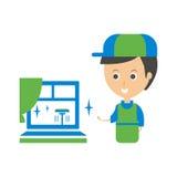 Cleanup Usługujący Pracownik I Czysty Okno Cleaning Firma Infographic ilustracja royalty ilustracja