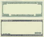 Clear 100 dollar banknote pattern. For design purposes Royalty Free Stock Image